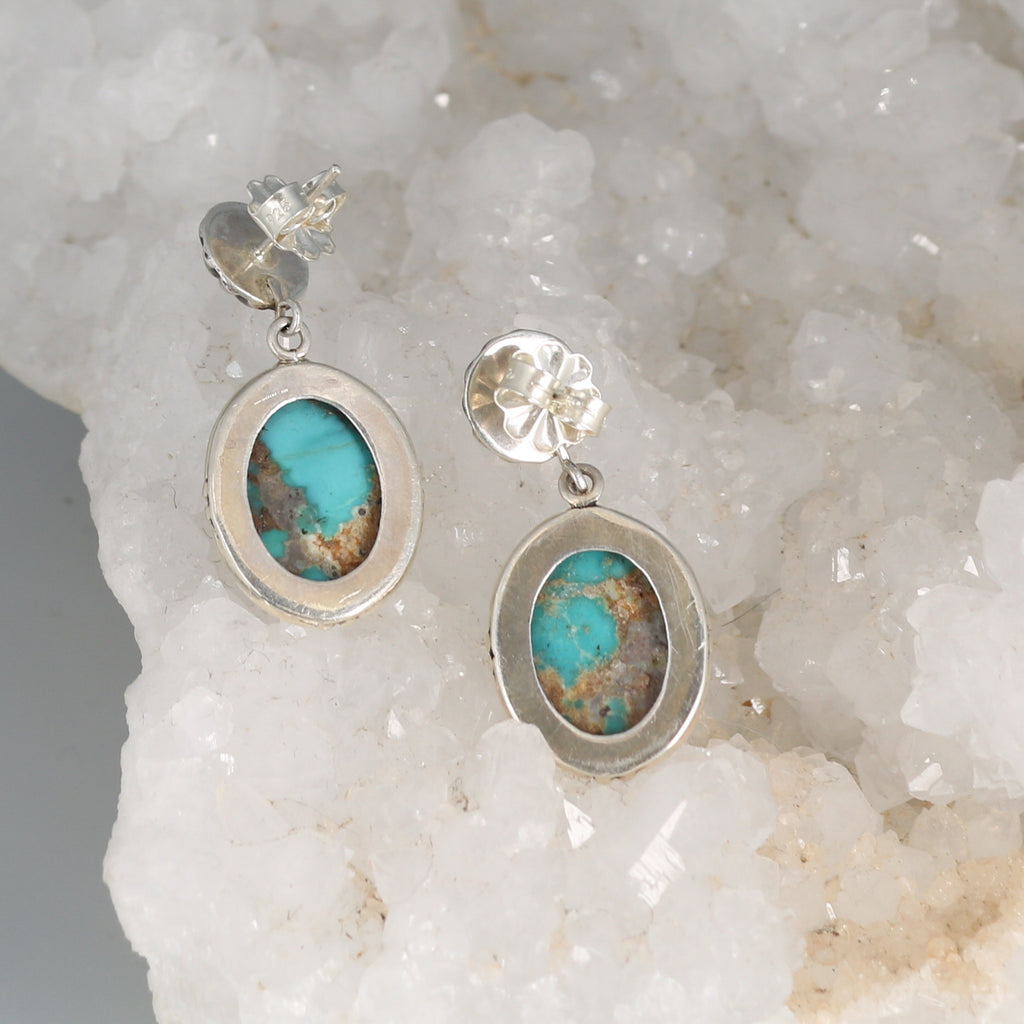 CARICO LAKE TURQUOISE Earrings Sterling Silver Blue Ovals