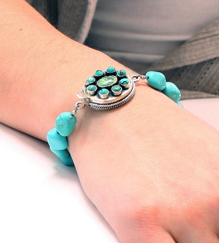 KINGMAN TURQUOISE BRACELET CARICO LAKE CLASP STERLING - New World Gems - 2