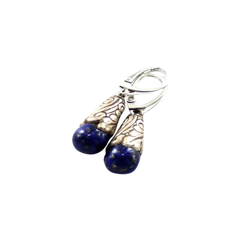 LAPIS STERLING EARRINGS TEARDROP TIBETAN STYLE - New World Gems