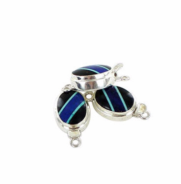 Black Agate Lapis Clasp Turquoise Sterling Oval - New World Gems