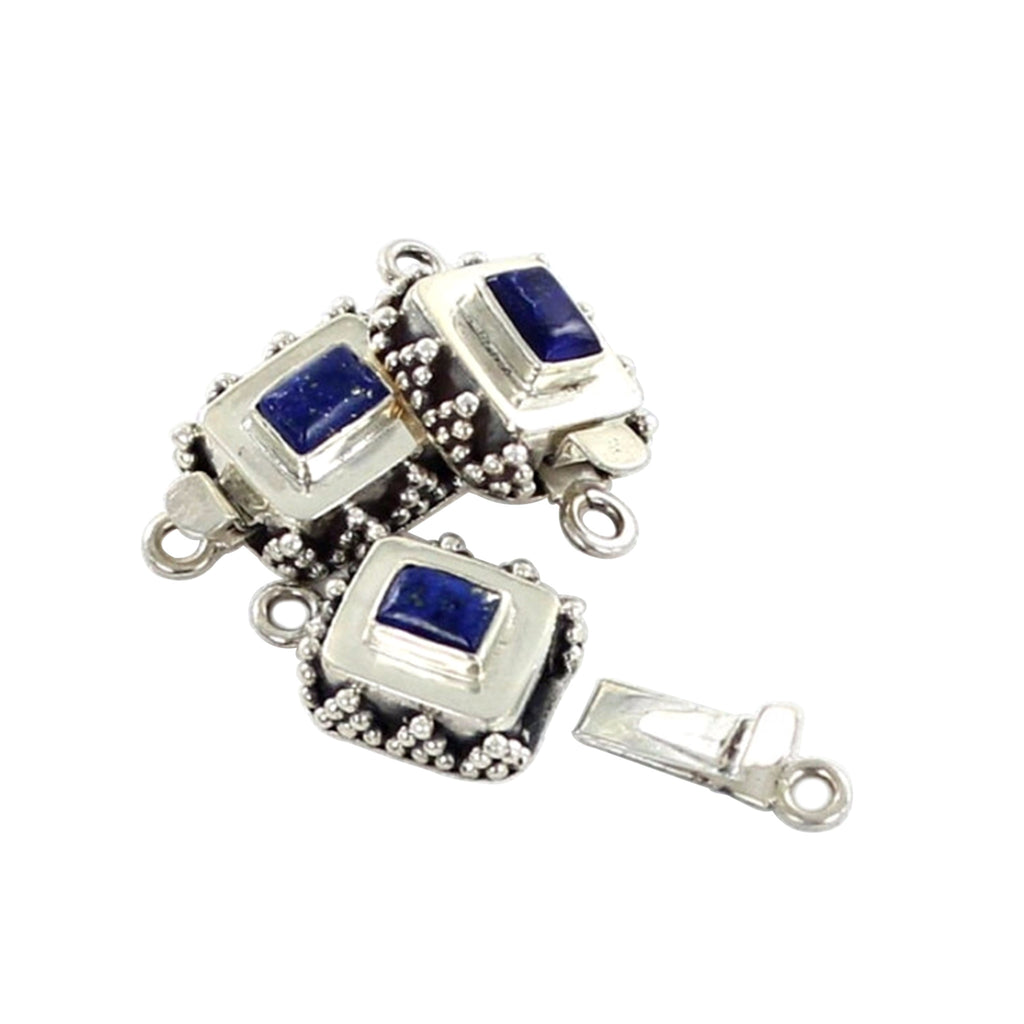 LAPIS CLASP CUSHION SHAPED STERLING GRANULATED - New World Gems