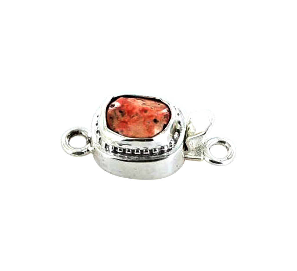 SALMON CORAL CLASP Free Form Sterling Rough - New World Gems