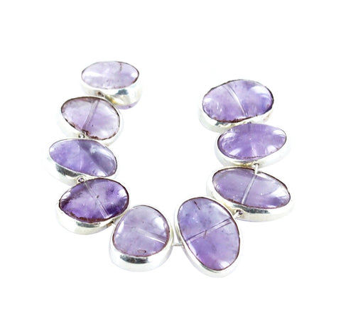 STERLING SILVER RIMMED Amethyst Beads 9 Pcs - New World Gems
