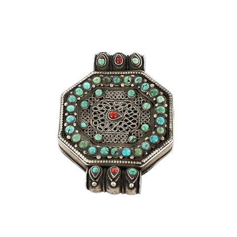 ANTIQUE TIBETAN STERLING SILVER PRAYER BOX GAU TURQUOISE - New World Gems - 1
