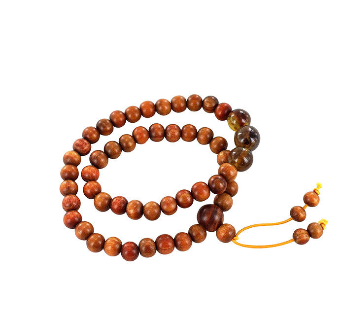 AMBER and IRONWOOD MALA PRAYER BEADS - New World Gems - 1