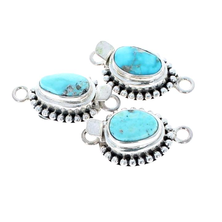Blue Carico Lake Turquoise Sterling Clasp Free Form