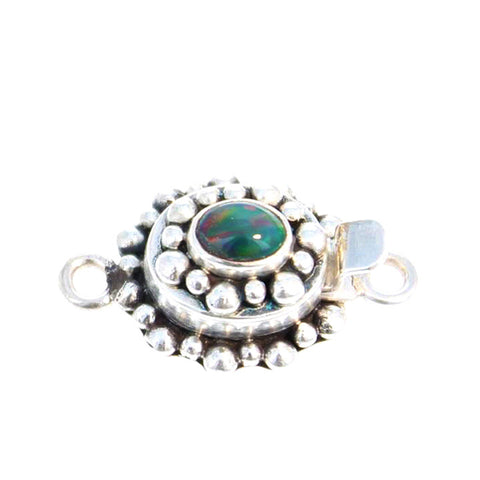 Ethiopian Welo Opal Clasp Peacock Color Sterling
