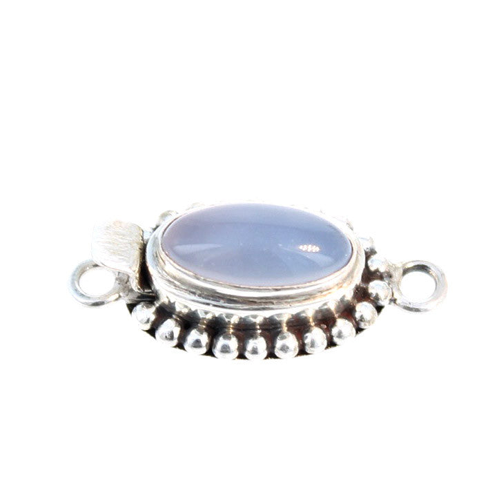 Chalcedony Clasp Elongated Oval Sterling