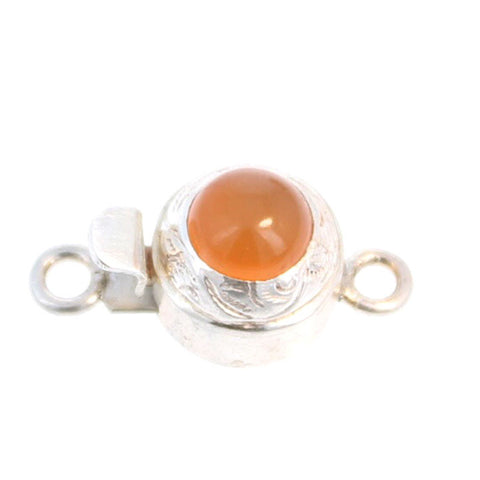 ORANGE CHALCEDONY CLASP STERLING ROUND
