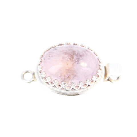 GORGEOUS PINK MORGANITE CLASP STERLING OVAL 17x13mm CROWN WIRE