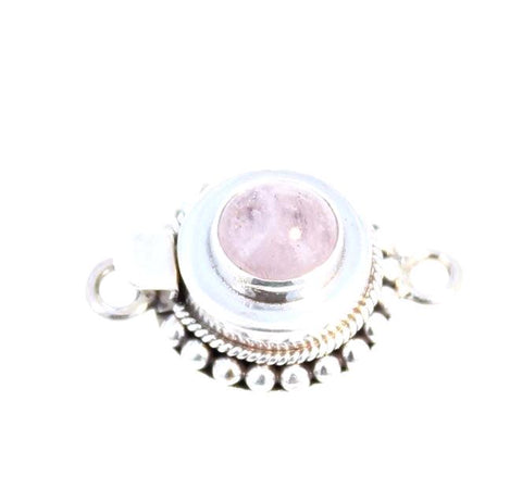 Morganite Clasp Granulated Sterling Round 8mm
