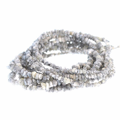 GENUINE SILVER DRUSY DIAMOND BEADS 2.5-4mm 16""