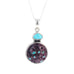 PURPLE SPINY OYSTER and TURQUOISE STERLING PENDANT NECKLACE 16""