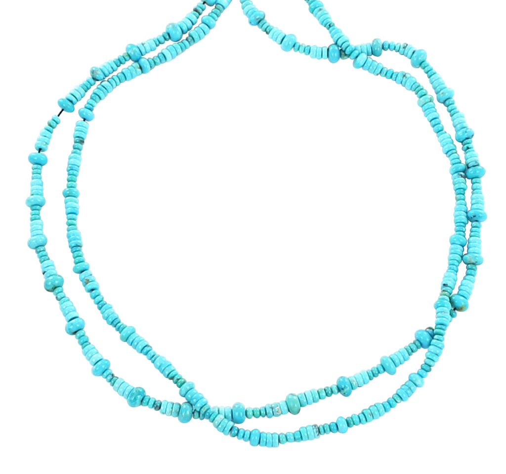 GENUINE SLEEPING BEAUTY TURQUOISE BEADS GRADUATED RONDELLE MIXED #2