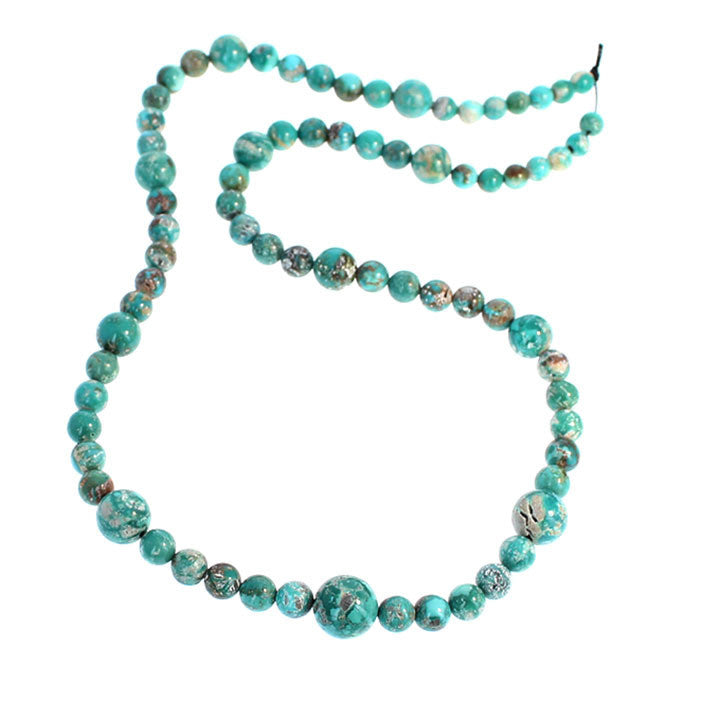 FOX MINE AMERICAN TURQUOISE BEADS ROUND TEAL BLUE MATRIX 4-10mm