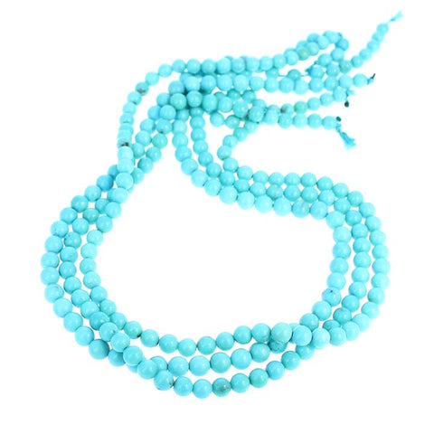 MEXICAN CAMPITOS TURQUOISE BEADS ROBIN`S EGG BLUE ROUND 5mm