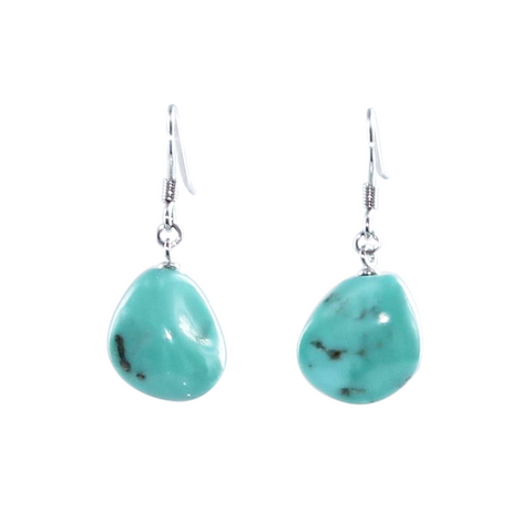 Mexican TURQUOISE EARRINGS PALE SKY BLUE Drops Sterling