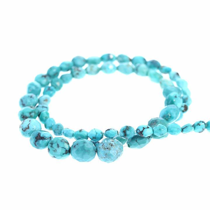 FACETED CHINESE TURQUOISE Beads Graduated Ovals