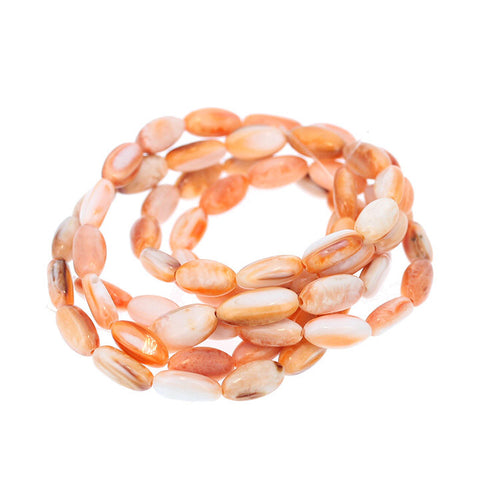 ORANGE SPINY OYSTER Beads 11x6.5mm Oval