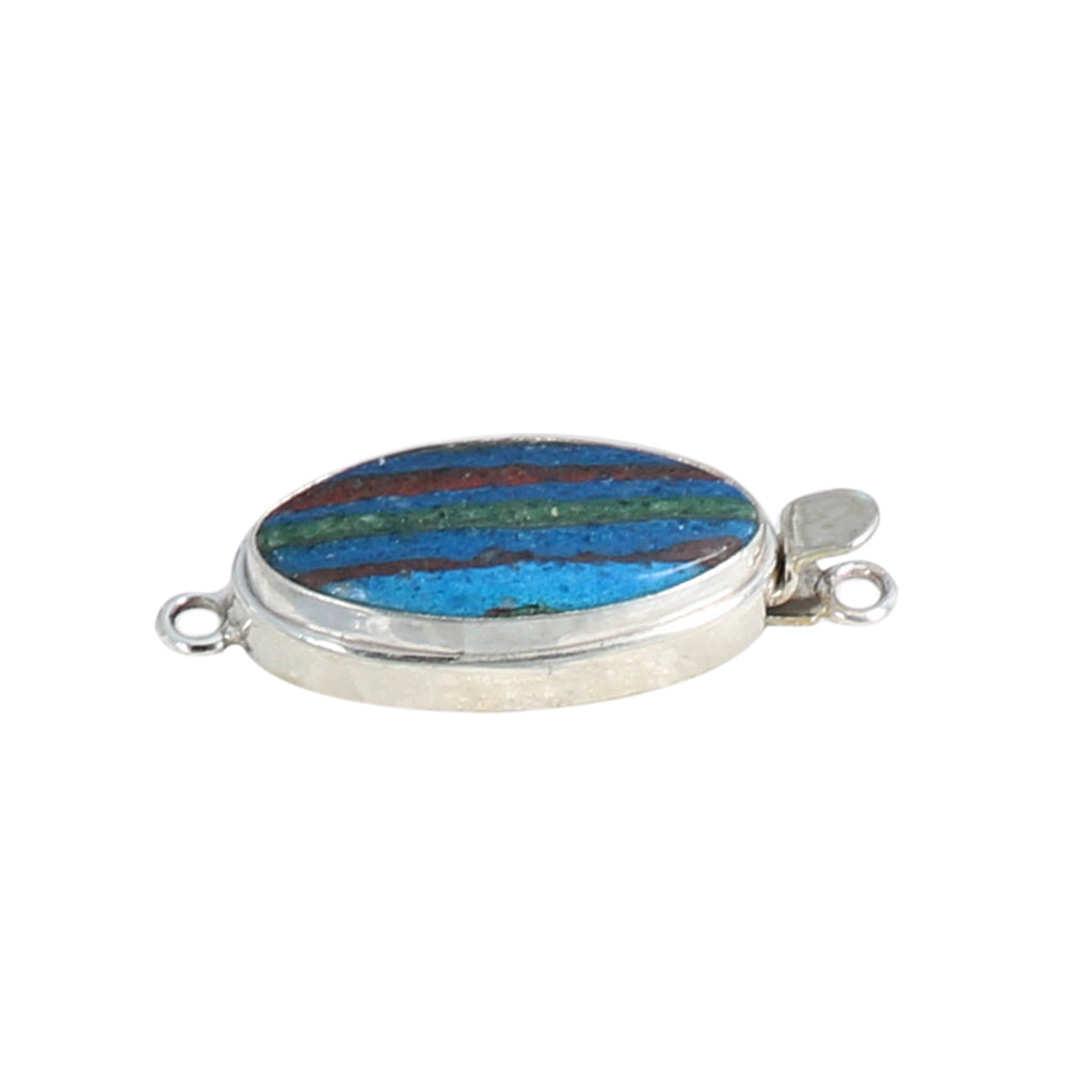 Rainbow Calsilica Clasp Oval Etched 24x14mm