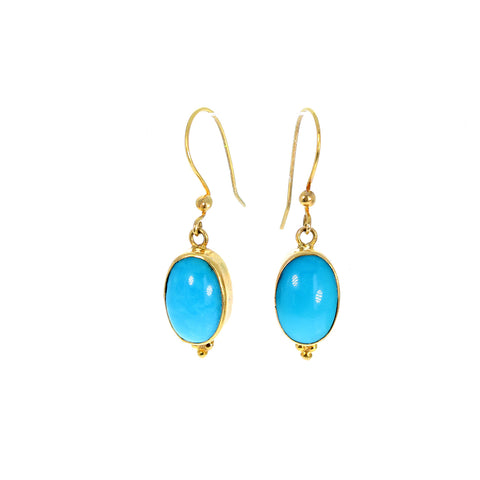18k GOLD ARMENIAN TURQUOISE Earrings Oval