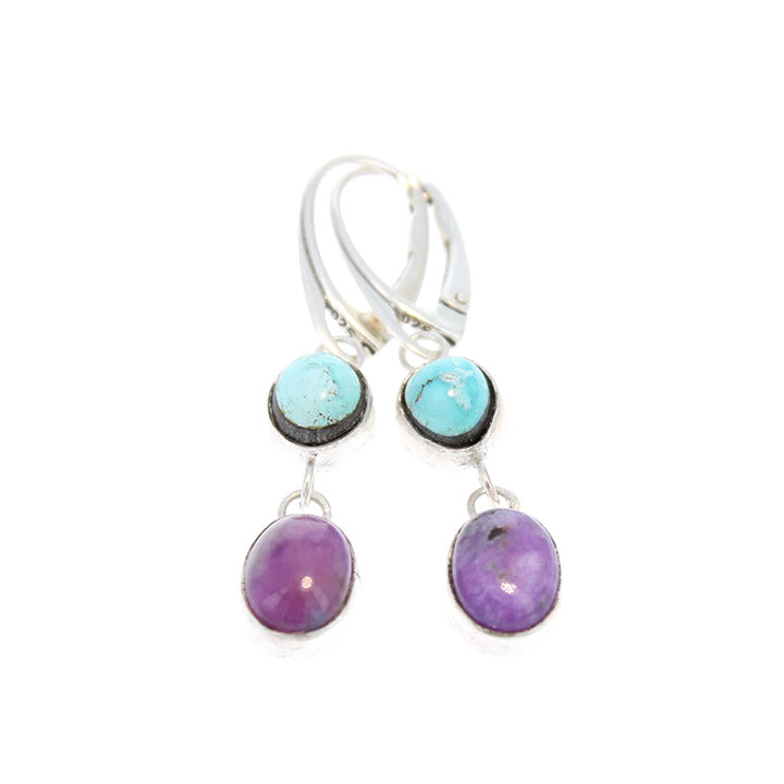 SUGILITE and Dry Creek TURQUOISE EARRINGS Sterling Leverback
