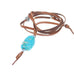 TURQUOISE CENTERPIECE NECKLACE Sterling Leather Nevada Turquoise