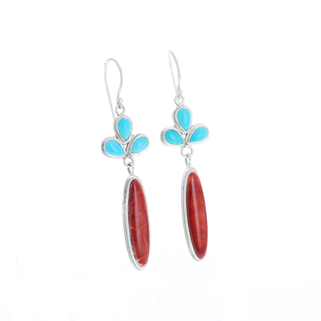 Sleeping Beauty Turquoise Earrings with Red Spiny Oyster Oval Long