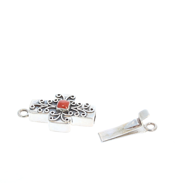 Italian Coral Clasp Sterling Filigree Cross