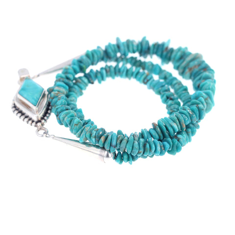 FOX TURQUOISE NECKLACE AQUA NUGGET BEADS STERLING 18.5""