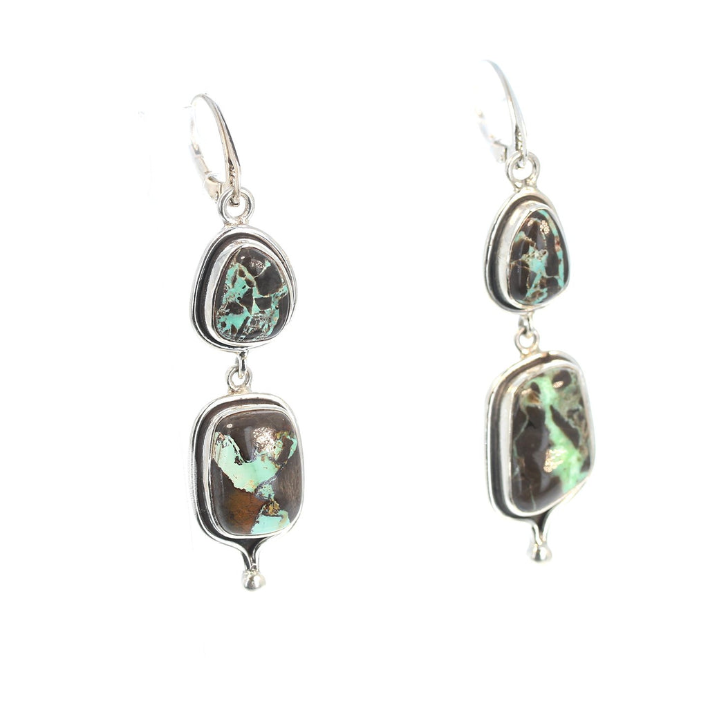 CARICO LAKE TURQUOISE Earrings 2 Stone Sterling Nevada Turquoise