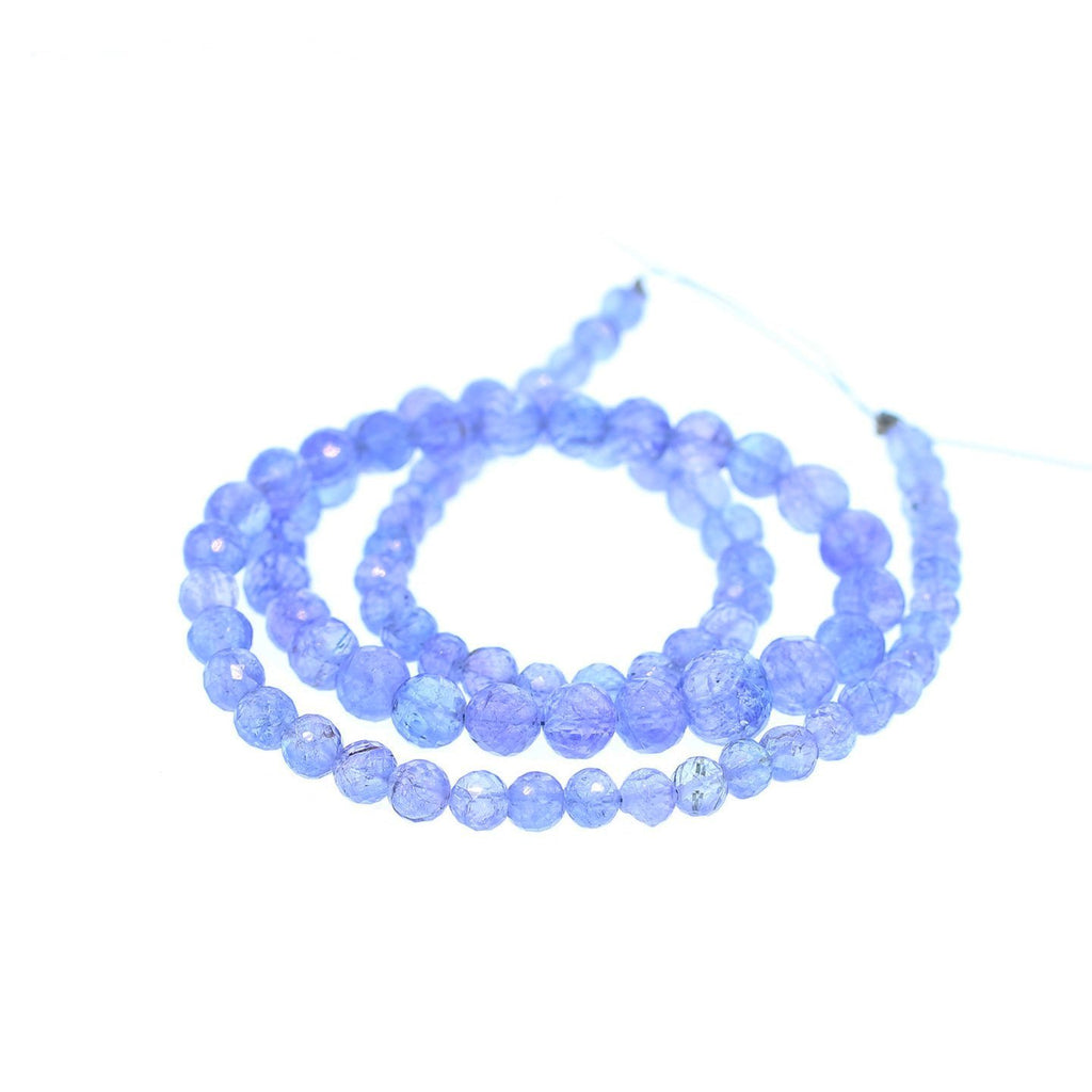 AAA TANZANITE BEADS Faceted Graduated Round Beads 16""