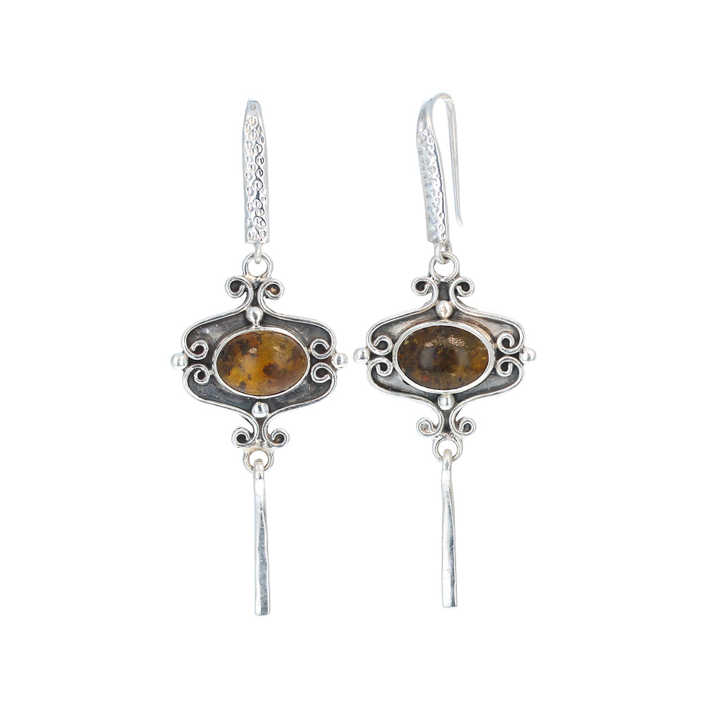 AMBER EARRINGS Sterling Silver Southwest Style Boho