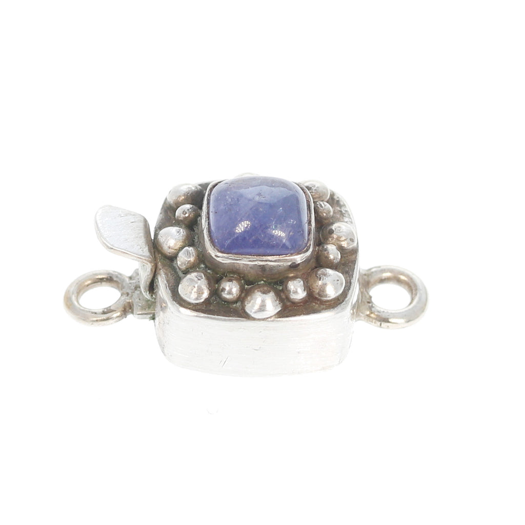 Tanzanite Clasp Sterling Silver Square Dot Design