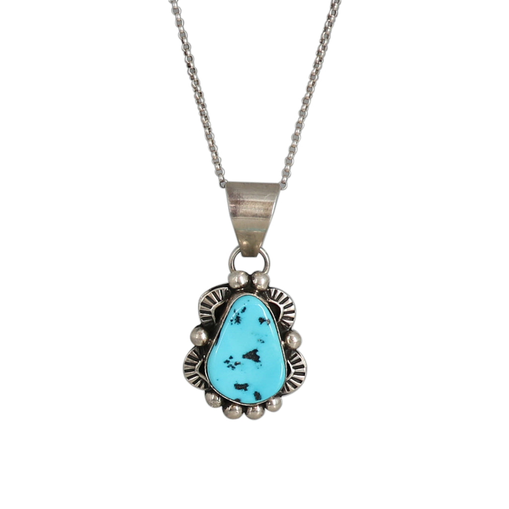 KINGMAN TURQUOISE PENDANT Necklace with Chain Sterling