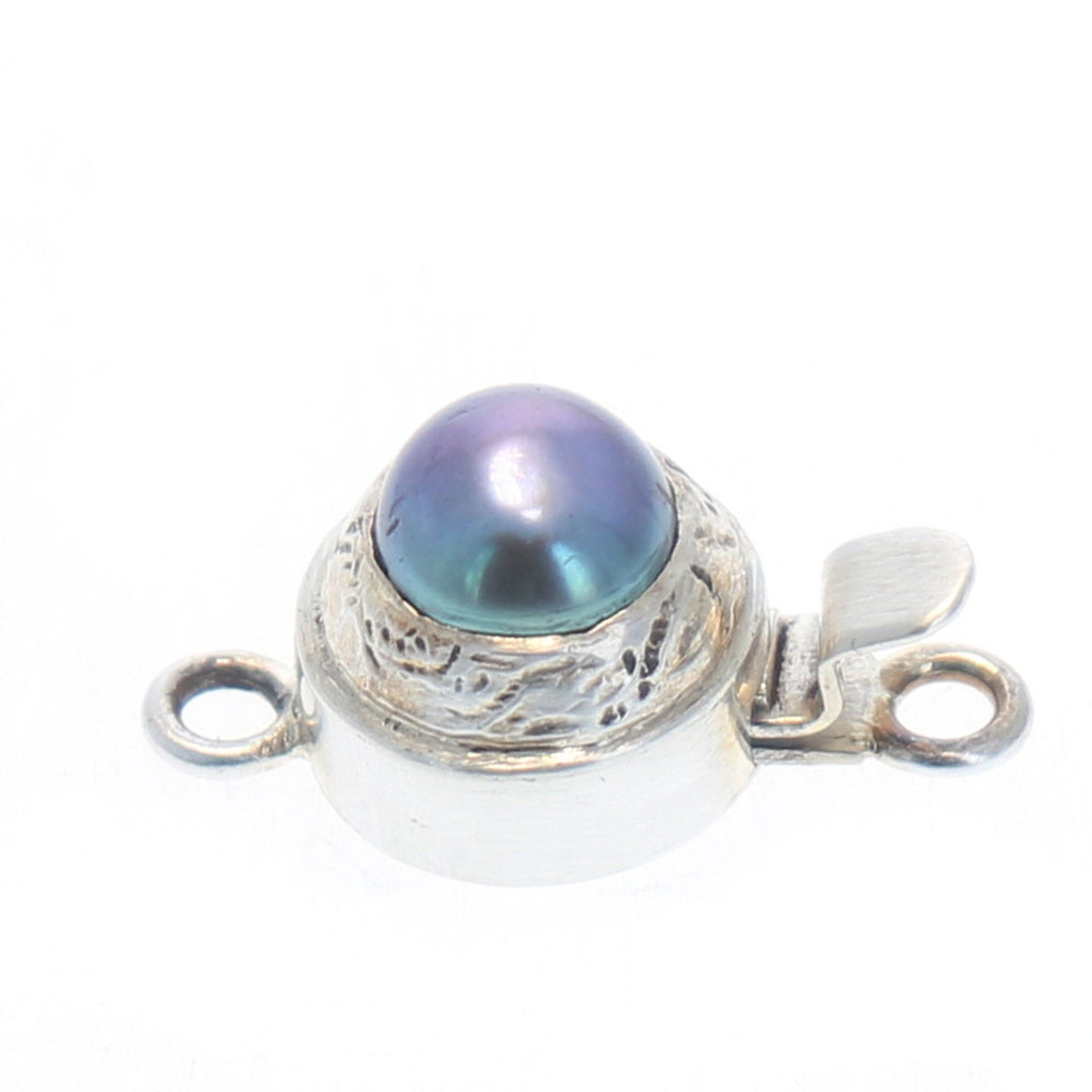 PEARL CLASP PURPLE Coin Shape 8mm Sterling