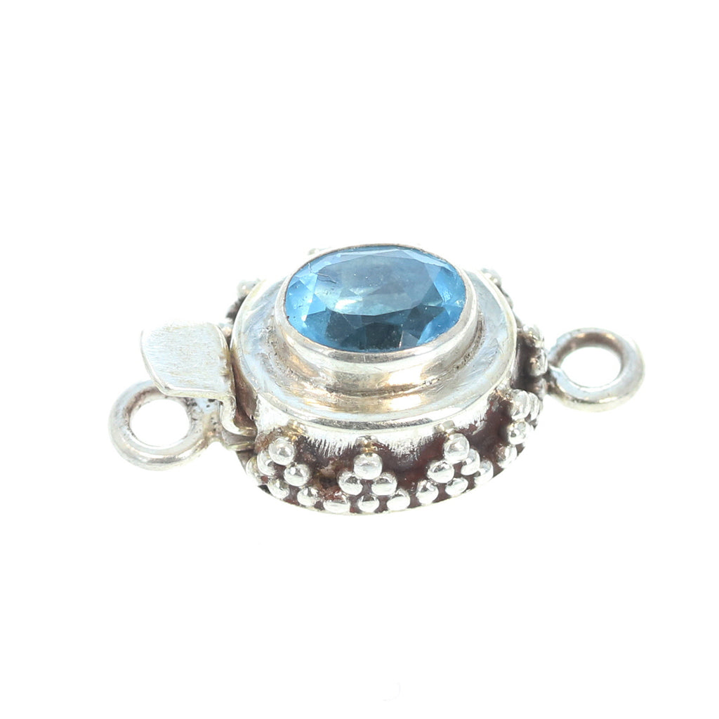 Swiss Blue Topaz Faceted Sterling Clasp 6x8mm Granulated