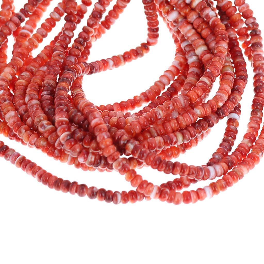 SPINY OYSTER Beads Rondelles 3.5mm Red 16""
