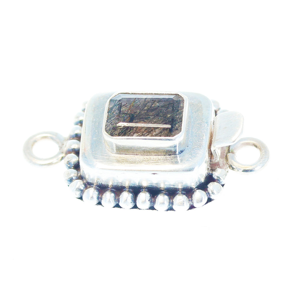 Black Rutilated Quartz Sterling Silver Faceted Clasp