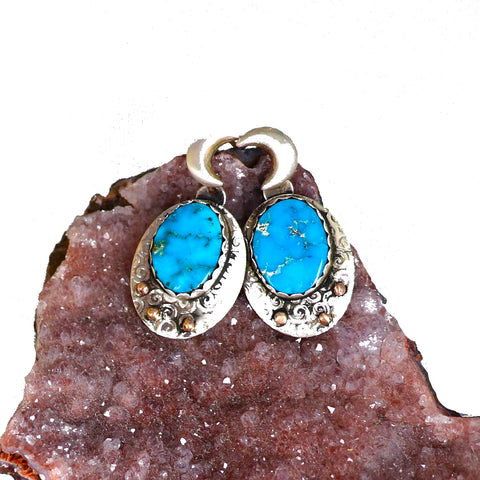 BLUE BIRD TURQUOISE Spirit Moon Earrings with 18K Gold
