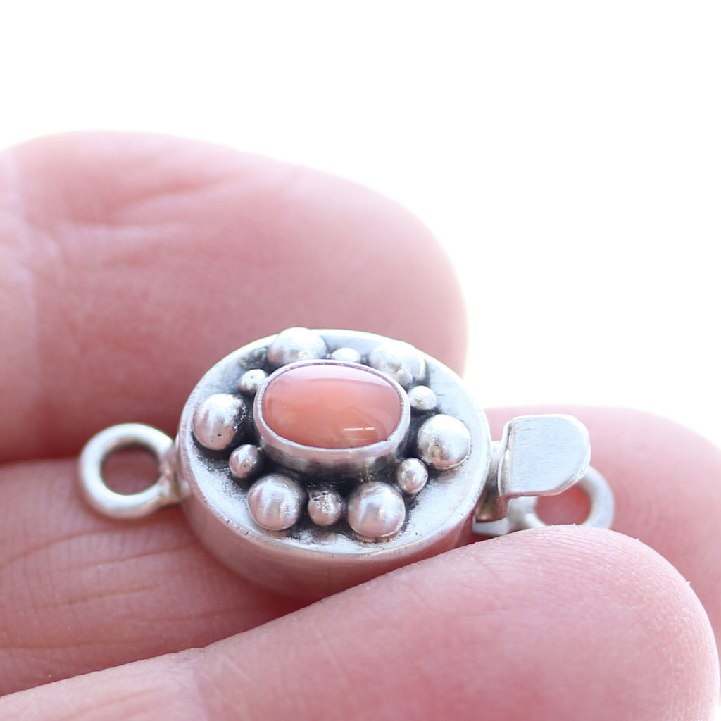 SALMON CORAL CLASP STERLING Ball Design 4x6mm