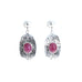 Ruby Earrings Sterling Silver 12x9mm Hoops