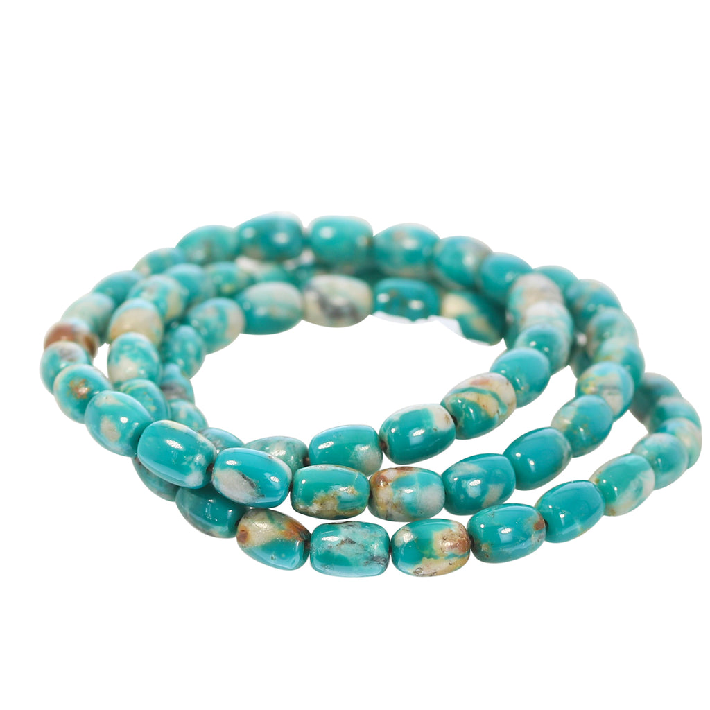 FOX TURQUOISE BARREL BEADS GREEN 7x5mm