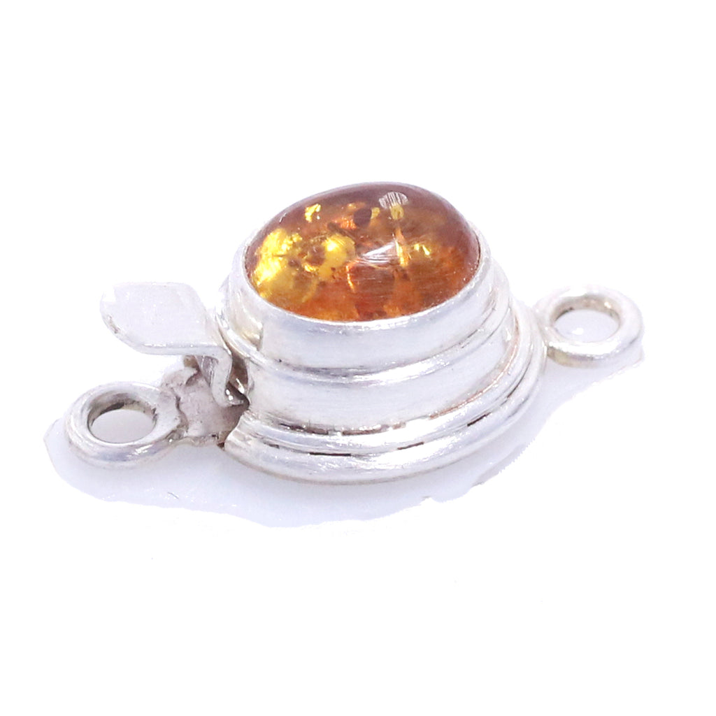 Baltic Butterscotch Amber Clasp 8x10mm Classic Design Sterling