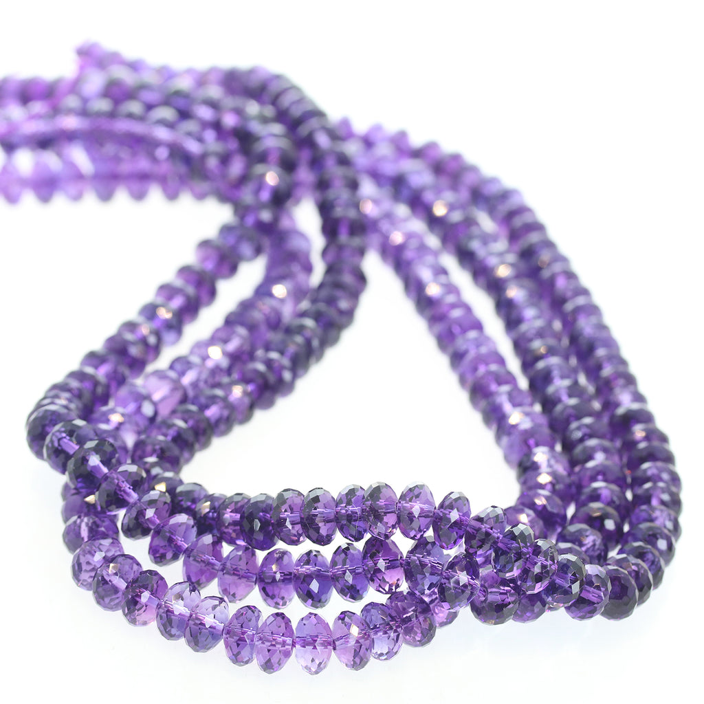 AAA AMETHYST BEADS Faceted Rondelles 8.5mm