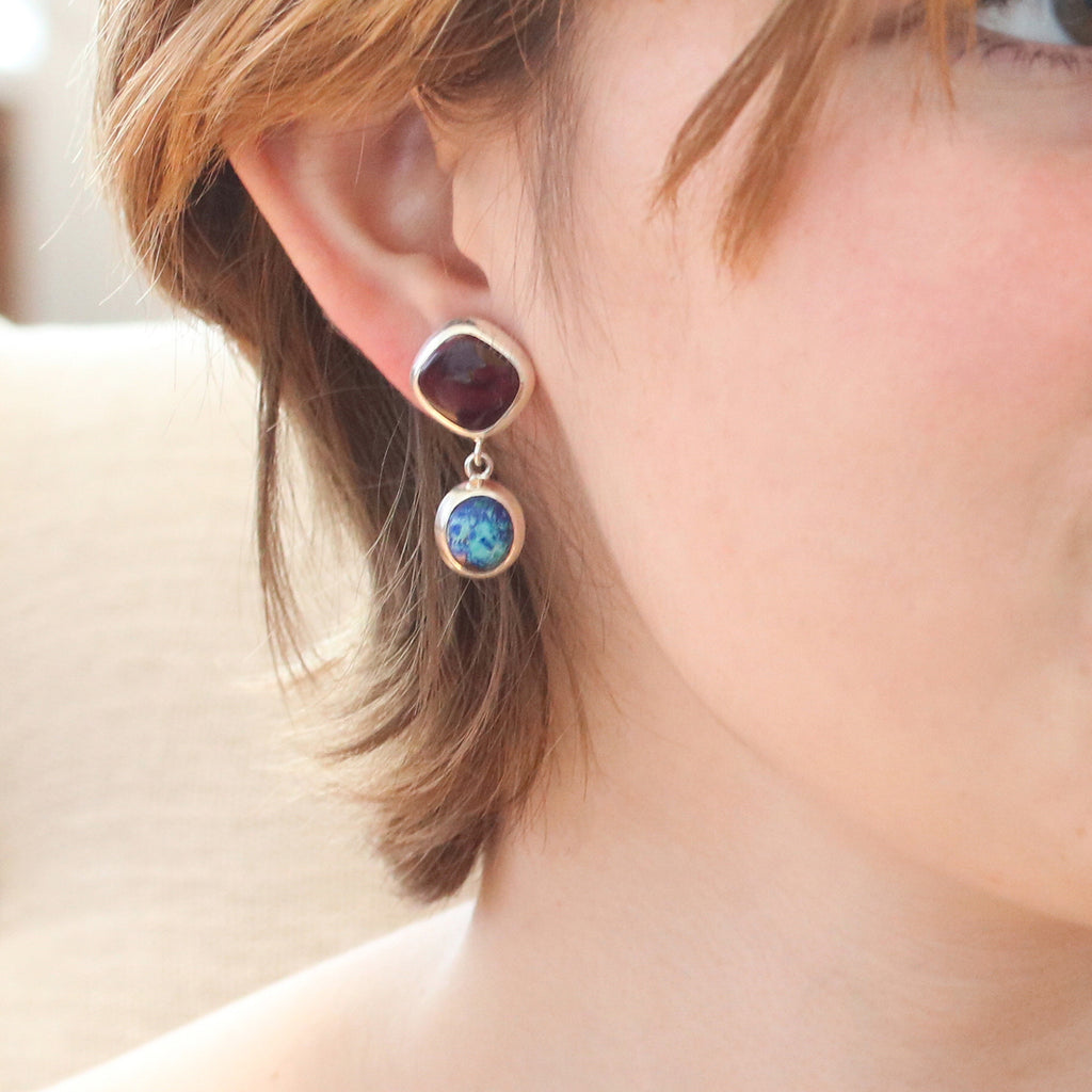 AZURITE Earrings with Purple Spiny Oyster