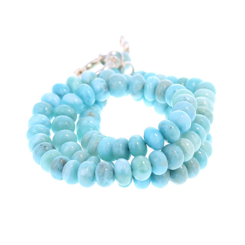 LARIMAR 8mm Rondelle Beads Necklace 19""