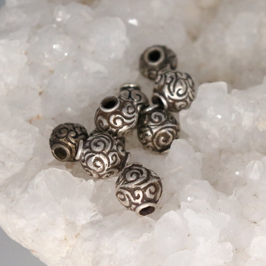 STERLING SILVER Spiral Beads 11mm Beads Set of 9