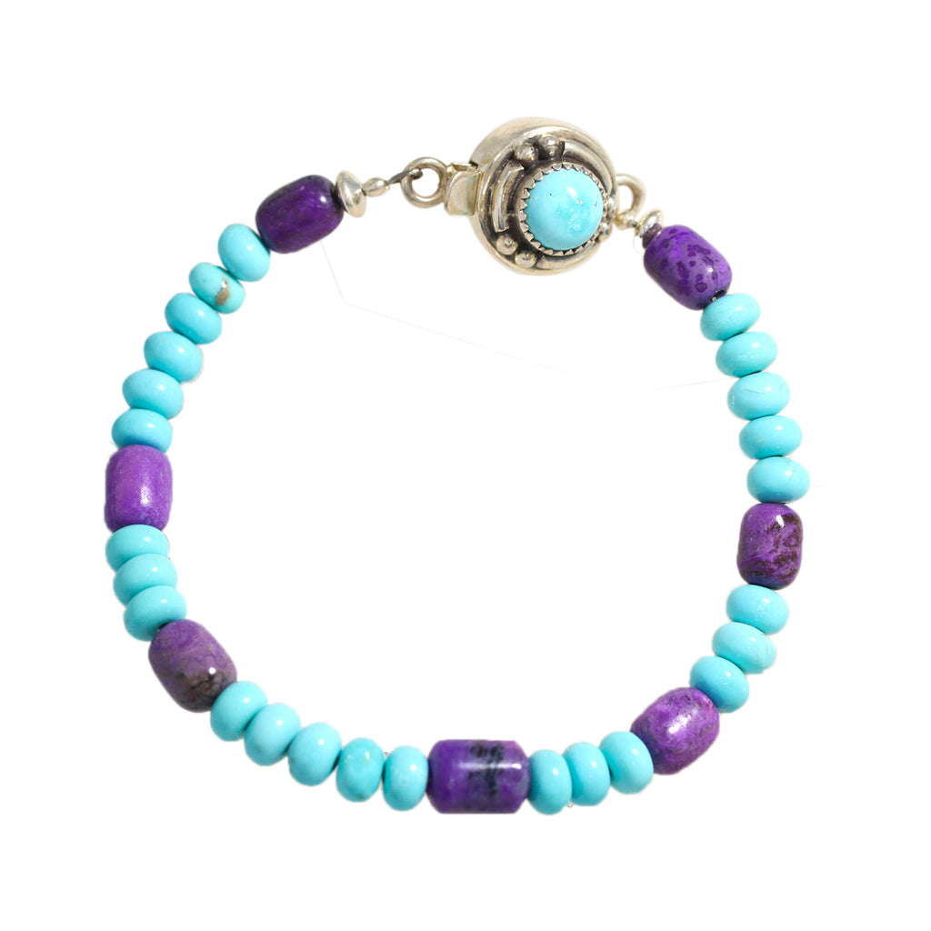 MEXICAN TURQUOISE and SUGILITE BEADS BRACELET