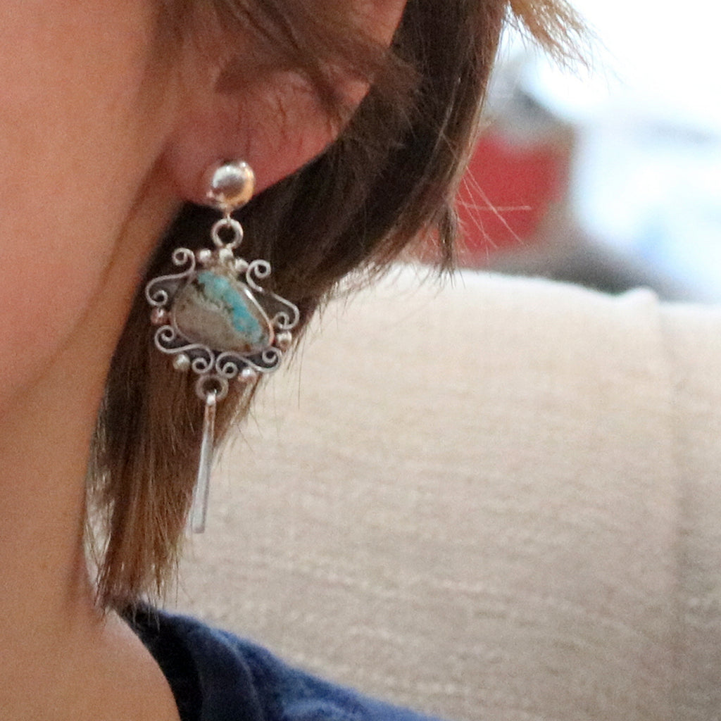 ROYSTON TURQUOISE Earrings Sterling Scroll Design Dangles Light Blue
